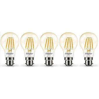 5 X Energizer LED Filament GLS Light Bulb Lamp Vintage BC B22 Clear 4.2W = 40W BC B22 Cap [Energy Class A+]