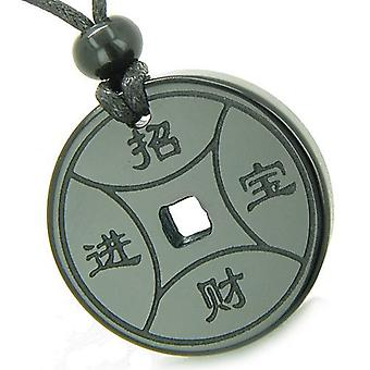 Amulett magische Glücksmünze Fortune Symbole MedalliOnyx spirituellen Schutz Kräfte Anhänger Halskette