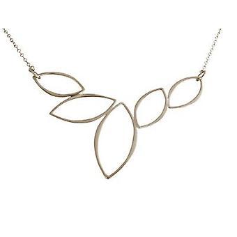 Gemshine - Damen - Halskette - Anhänger - 925 Silber - Lotus Blumen - LEAVES - 45 cm