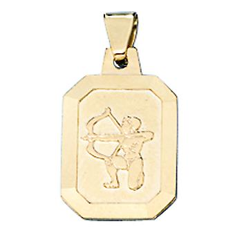 Pendant star sign of Sagittarius 333 frosted gold yellow gold Zodiac pendants