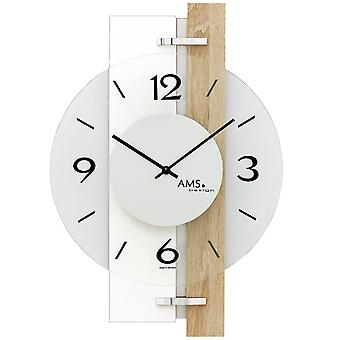 Wall clock quartz high gloss white wooden Sonoma optics with aluminium and glass 40 x 28 cm