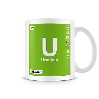 Wetenschappelijke bedrukte Mok met Element symbool 092 U - Uranium