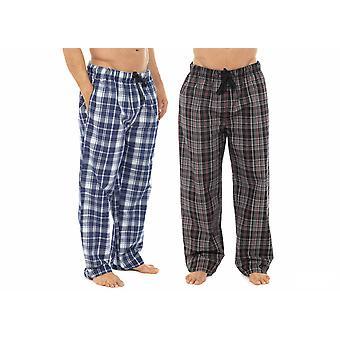 メンズ チェック柄ポリコットン パジャマ底ラウンジは、ズボンを着用します。