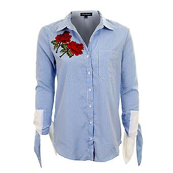 Ladies Turn Up 3/4 Knot Sleeve Rose Floral Embroidered High Low Shirt Blouse