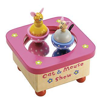 Tidlo Holz musikalische Katze & Maus Spieluhr Kinder traditionelle Geschenke