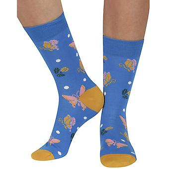Butterfly soft bamboo organic crew socks, blue | seriouslysillysocks