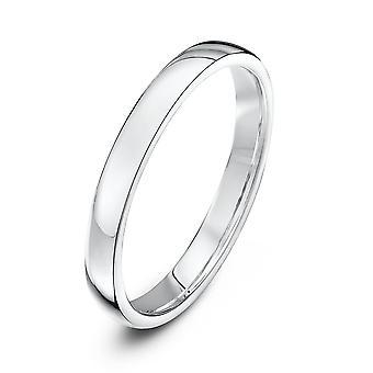 Star Wedding Rings 18ct White Gold Light Court Shape 2.5mm Wedding Ring