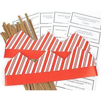 Candy Cane Stripe Adjustable Paper Hats, Snaps & Christmas Jokes for Cracker Making Crafts - 10 or 25 Pack