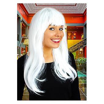 Pelucas larga peluca con blanco de flecos
