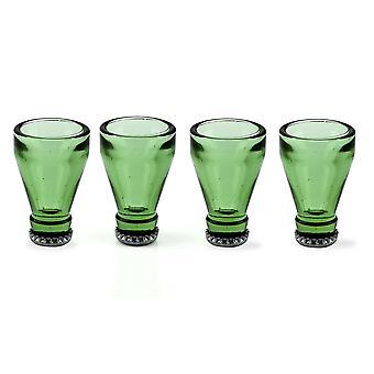 Verres à liqueur bouteille 4 set 4 pièces, vert verre/métal, dans une boîte cadeau.