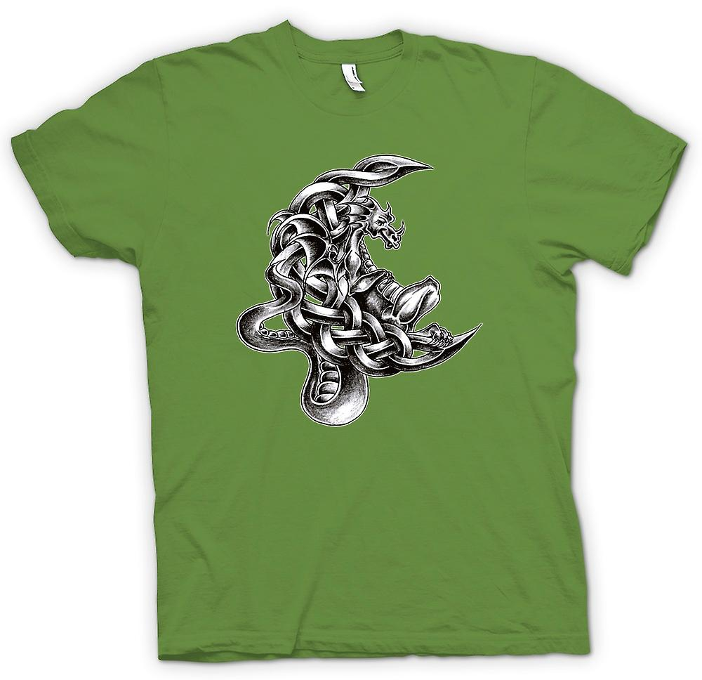 Heren T-shirt - Dragon Tattoo - Design schets