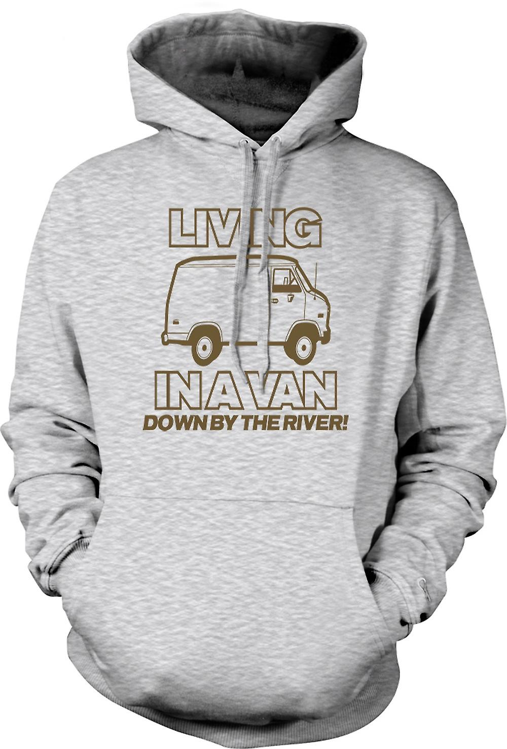 Mens Hoodie - Living In A Van, Down By The River - Quote