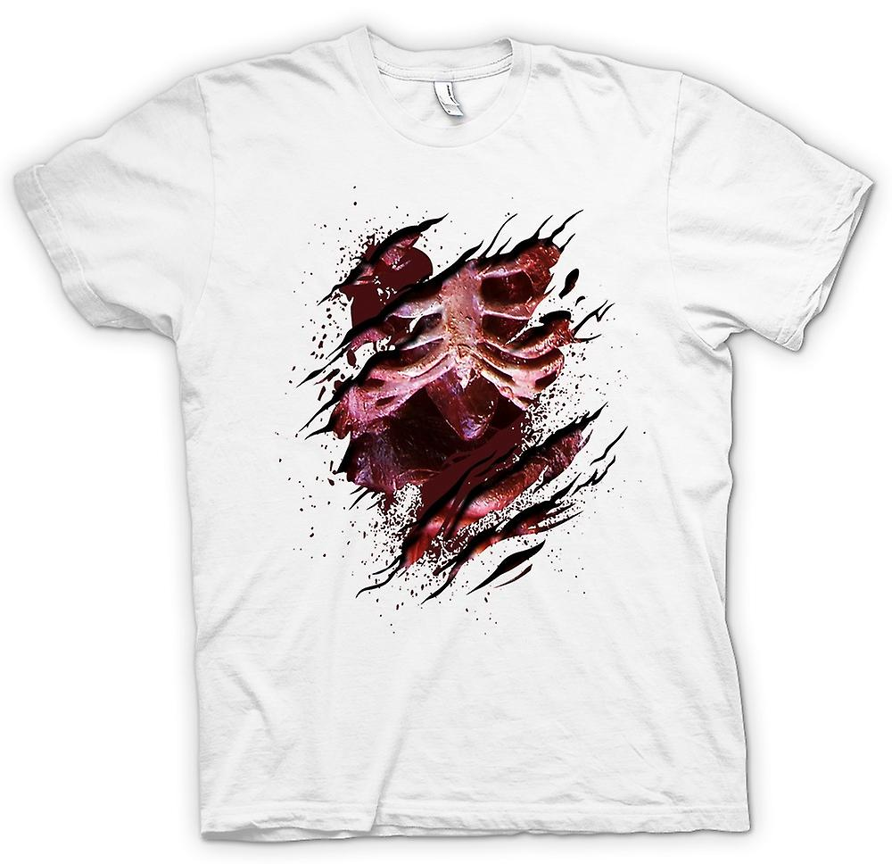 Mens T-shirt - Zombie Skeleton Undead  Heart Ripped Design