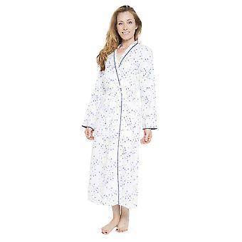 Cyberjammies 1267 Women's Nora Rose Adele White Bird Print Dressing Gown Loungewear Bath Robe Robe