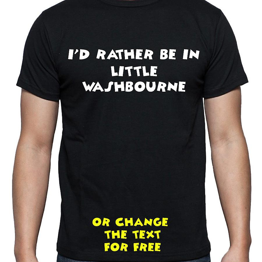 I'd Rather Be In Little washbourne Black Hand Printed T shirt