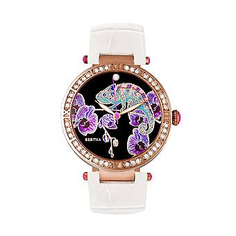 Bertha Camilla Mother-Of-Pearl Leather-Band Watch - White