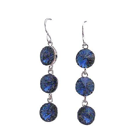 Metallic Blue Sparkling Crystal Round Beads 10mm 92.5 Hook Earrings