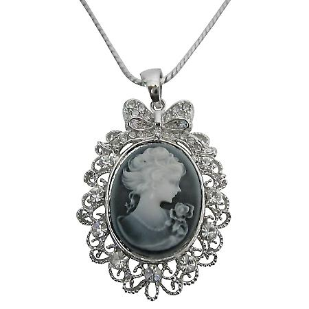 Victorian Cameo Lady Pendant Necklace Sparkling Silver Casting Frame
