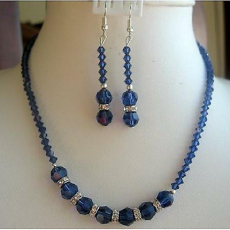 Vintage Handmade Necklace Set in Swarovski Sapphire Crystals