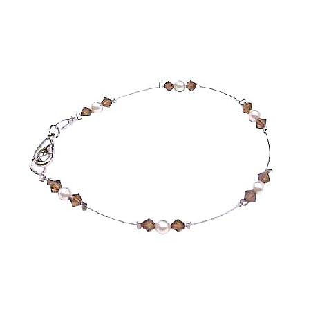 Prom Jewelry Affordable High Quality Of Genuine Swaroski Ivory Pearls & Smoked Topaz Beautiful Lobster Clasp Bracelet