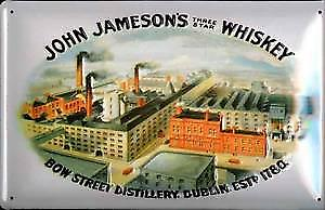 John Jameson's Bow Street Distillery Dublin embossed metal sign