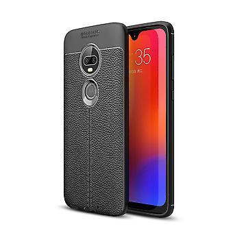 Carcasa Motorola Moto G7/G7 además de TPU Litchi textura negro