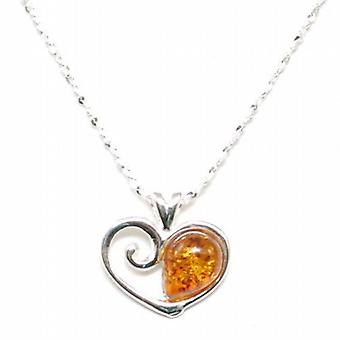 The Olivia Collection Sterling Silver Heart  Amber Pendant on 18 Inch Chain