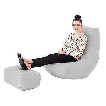 White Faux Leder Gaming Highback Bean Bag Lounger Chair mit Foothocker