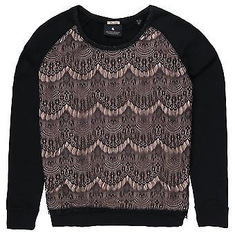 Maison Scotch Long Sleeve Sweater With Lace,Grey Melange