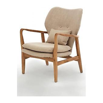 Fusion Living Beige Upholstered Mid Century Scandinavian Armchair