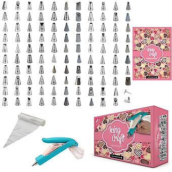 IcingCraft - 132 Pcs Icing Set with 110 Various Icing Nozzle Tips Hand Icing Pen Dispenser 20 Disposable Icing Bags + FREE Ideas Booklet