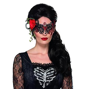 Halloween Day of the Dead Metal Filigree Eyemask with Roses