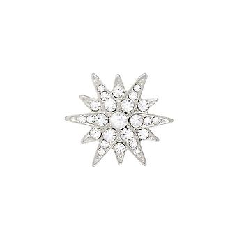Eternal Collection Starry Clear Crystal Silver Tone Star Brooch