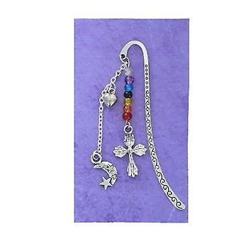 Cross and Moon Silver Plated Book Mark 8.5cm