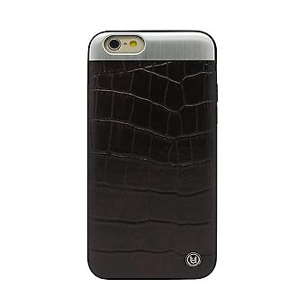 iPhone 6/6s - 4.7 Inch Croc with Brushed Metal Plate Black Hard Shell