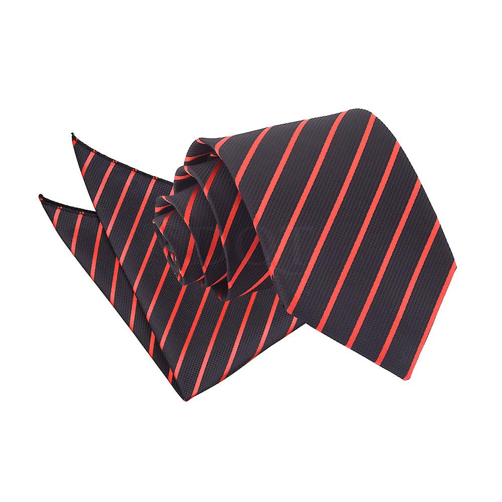 Black & Red Single Stripe Tie 2 pc. Set