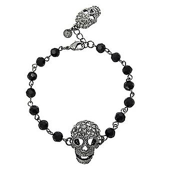 Butler and Wilson 2 Pewter Crystal Skull Black Beads Bracelet
