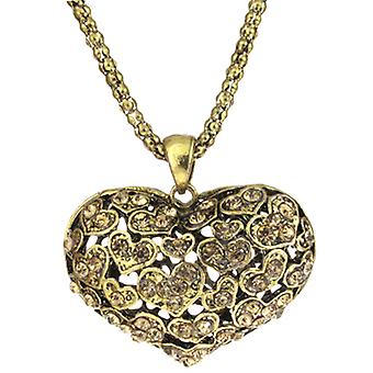 Antique Gold Hollow Heart Amber Crystal Pendant Necklace