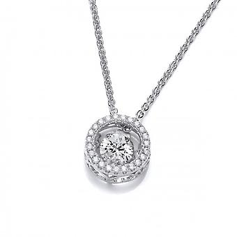 Cavendish French CZ Dancing Stone Halo Necklace