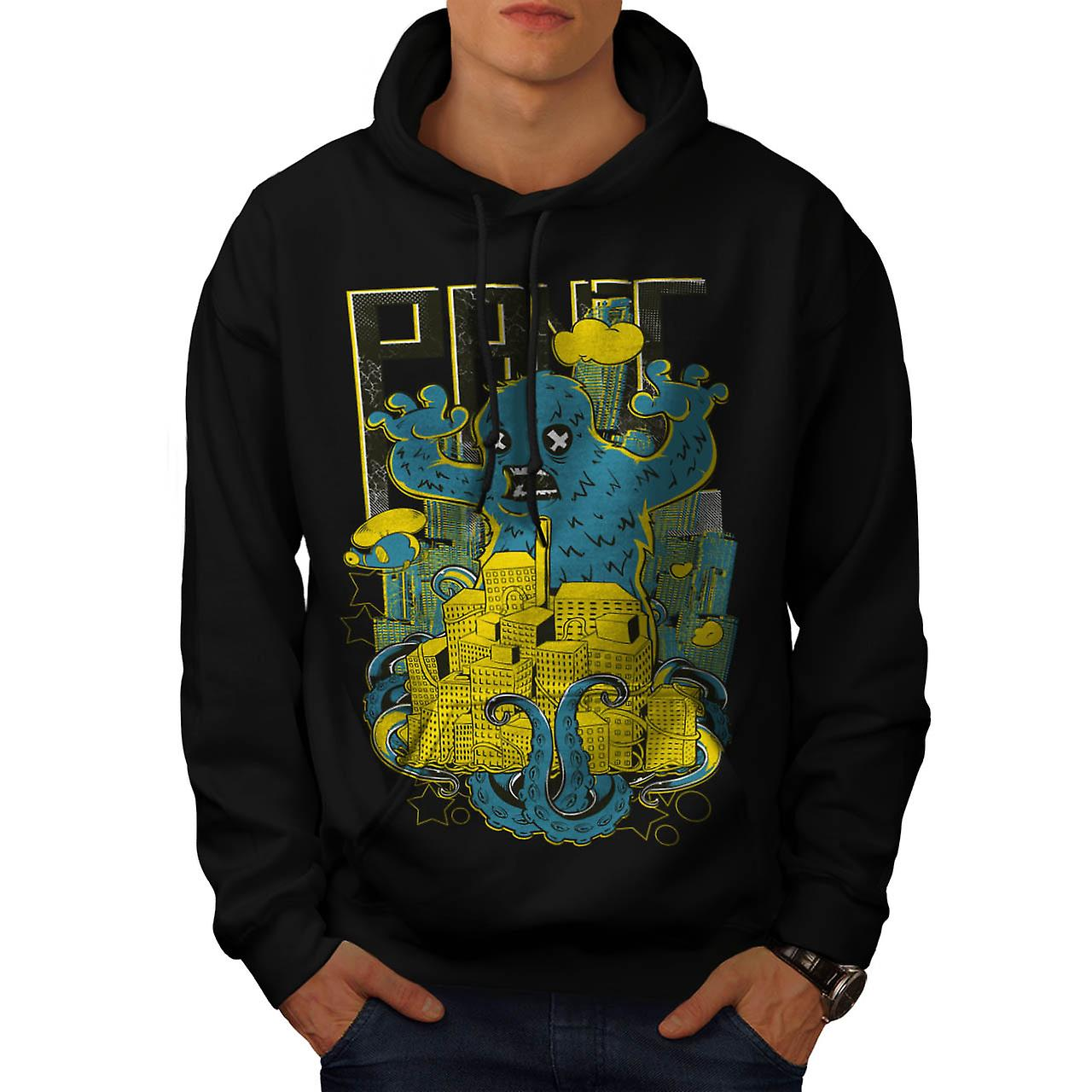 Panic Monster City Horror Men Black Hoodie | Wellcoda