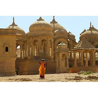 Bada Bagh with Royal Chartist and Finely Carved Ceilings Jaisalmer Rajasthan India Poster Print by Keren Su