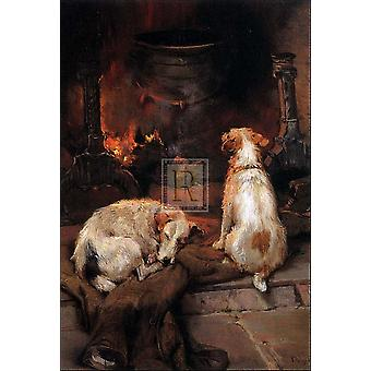 Warming by the Hearth Poster Print by Philip Eustace Stretton (17 x 23)