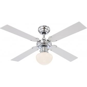 "Globo Ceiling Fan Champion Chrome 105 cm / 42"" with pull cord"