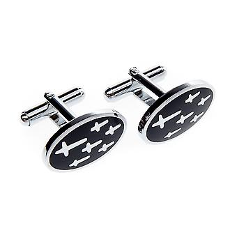 Marcell Sanders men's cufflinks oval crosses stainless steel black silver