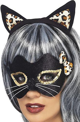 Smiffys Midnight Kitty Eye Mask Ears Gold Leopard Print Fancy Dress Accessory
