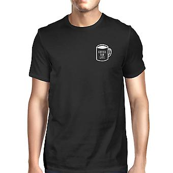 Coffee For Life Pocket Men's Black Shirts Funny Typographic Tee