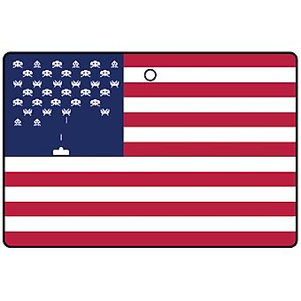 USA Flag Space Invaders Car Air Freshener