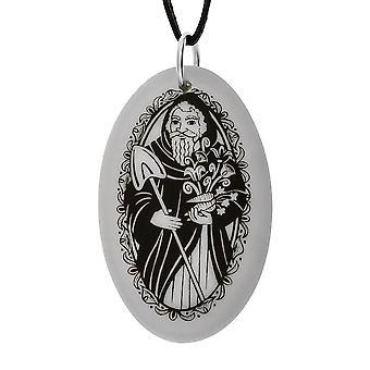Handmade Saint Fiacre Oval Shaped Porcelain Pendant ~ 36 inch Black Cord