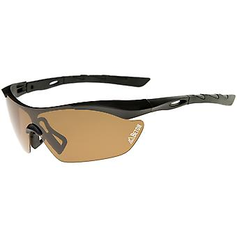 Nepal - Polarized Shatterproof Half-Frame Sports Shield Sunglasses 80mm