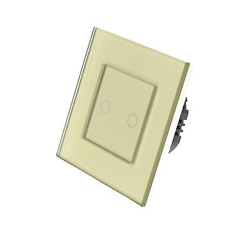 I LumoS Gold Glass Frame 2 Gang 1 Way WIFI/4G Remote & Dimmer Touch LED Light Switch Gold Insert